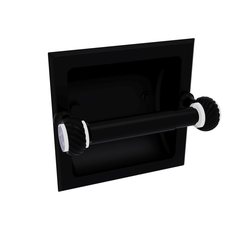 Allied Brass Pacific Grove Collection Recessed Toilet Paper Holder with Twisted Accents PG-24CT-BKM
