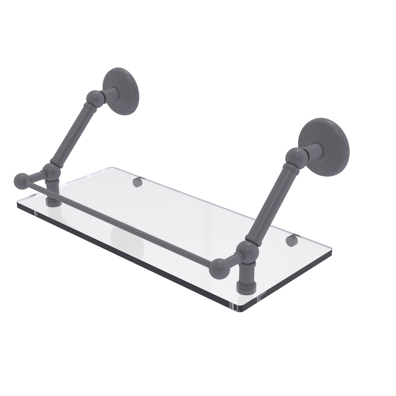 Allied Brass Prestige Monte Carlo 18 Inch Floating Glass Shelf with Gallery Rail PMC-1-18-GAL-GYM