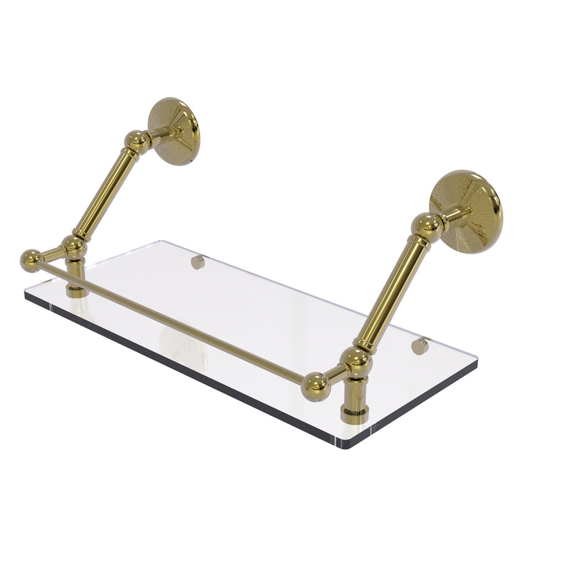 Allied Brass Prestige Monte Carlo 18 Inch Floating Glass Shelf with Gallery Rail PMC-1-18-GAL-UNL