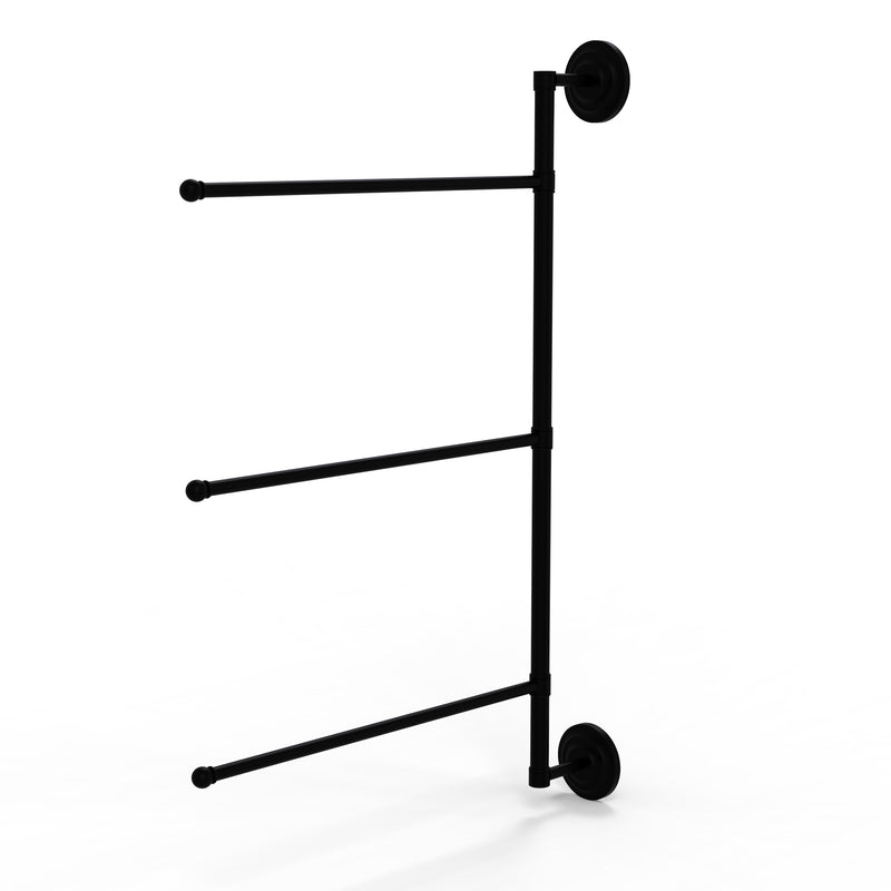 Allied Brass Prestige Que New Collection 3 Swing Arm Vertical 28 Inch Towel Bar PQN-27-3-16-28-BKM