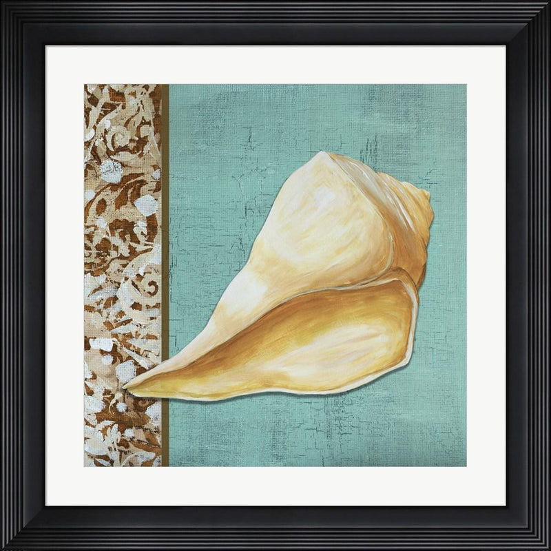 Megan Duncanson Yellow Seashell - Tan Side Border Teal Crackle Back Contemporary Stepped Solid Black with Satin Finish R808567-AEAEAGME8E