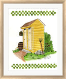 Debbie McMaster Yellow Double Outhouse White Washed Rounded Oatmeal Faux Wood R851362-AEAEAGJEMY