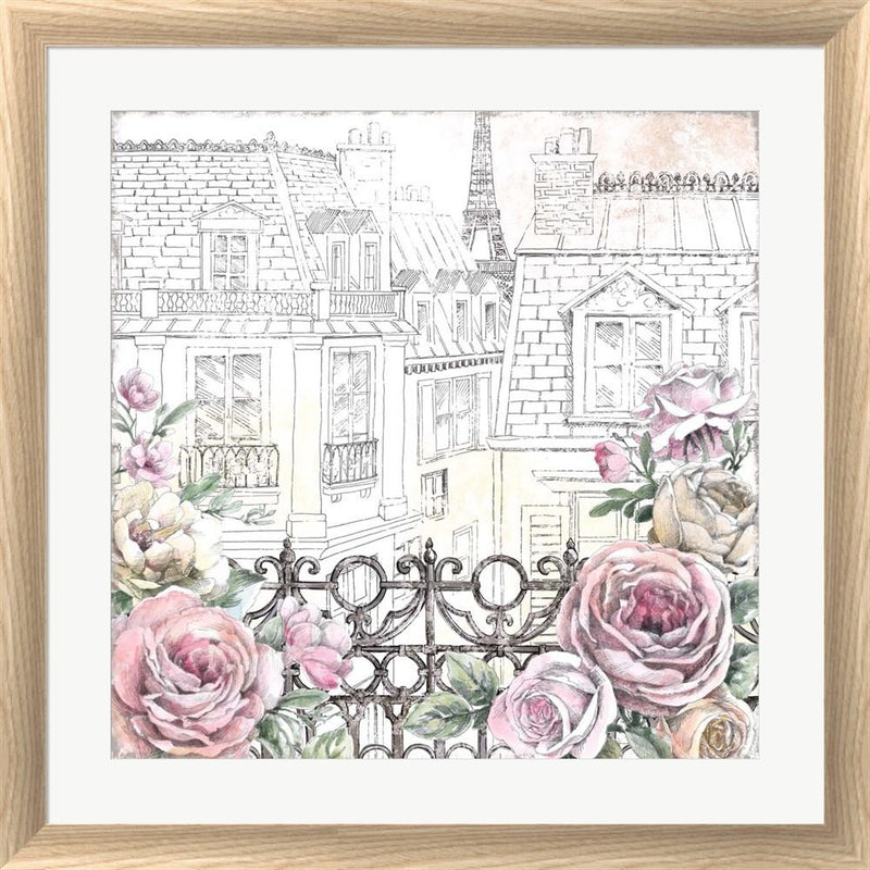 Beth Grove Paris Roses II White Washed Rounded Oatmeal Faux Wood R864848-AEAEAGJEMY
