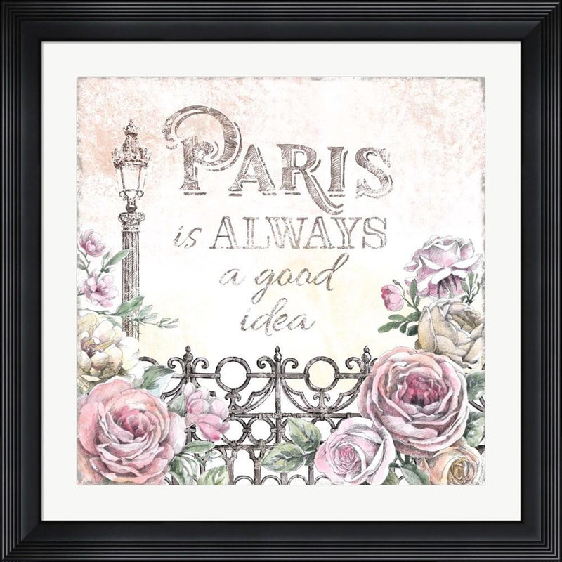 Beth Grove Paris Roses IV Contemporary Stepped Solid Black with Satin Finish R864850-AEAEAGME8E