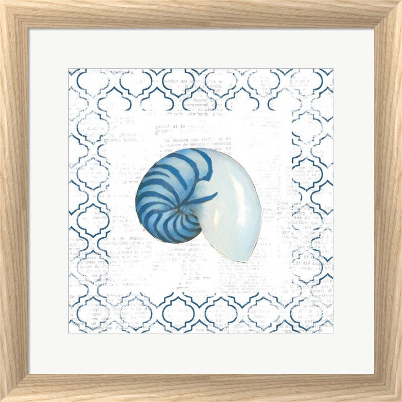 Emily Adams Navy Nautilus Shell on Newsprint White Washed Rounded Oatmeal Faux Wood R873797-AEAEAGJEMY