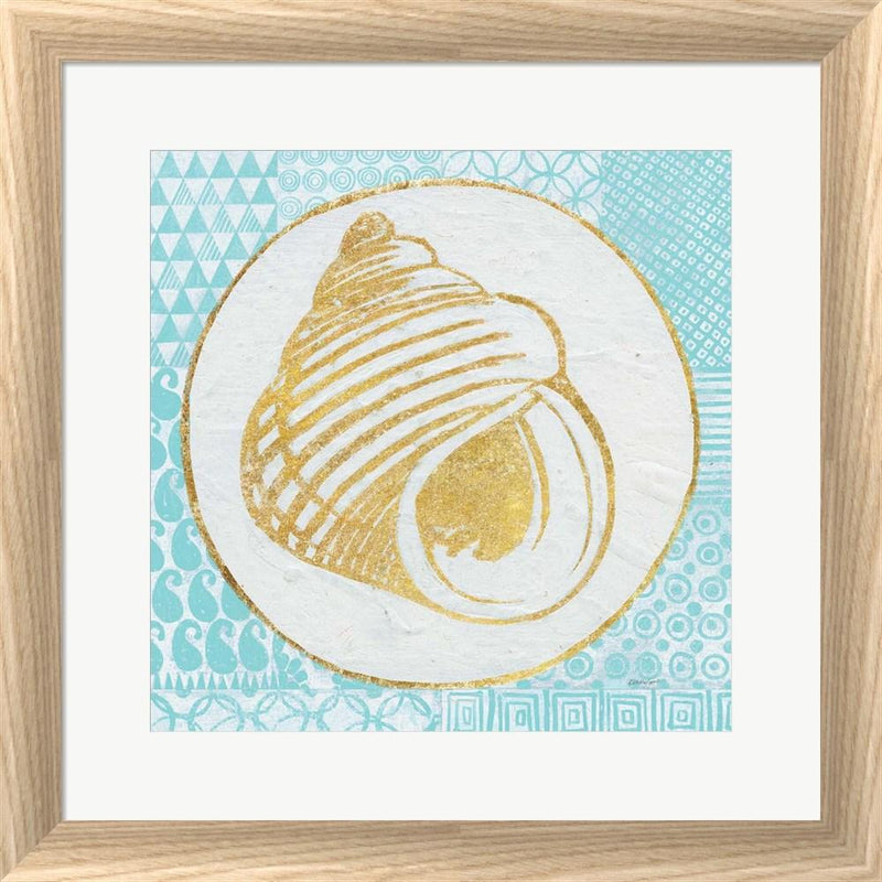 Kathrine Lovell Summer Shells III Teal and Gold White Washed Rounded Oatmeal Faux Wood R879489-AEAEAGJEMY