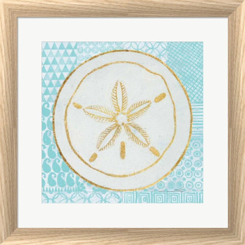 Kathrine Lovell Summer Shells I Teal and Gold White Washed Rounded Oatmeal Faux Wood R879596-AEAEAGJEMY
