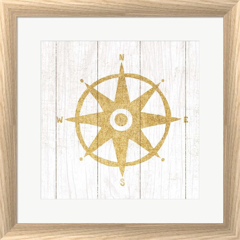 Michael Mullan Beachscape IV Compass Gold Neutral White Washed Rounded Oatmeal Faux Wood R899144-AEAEAGJEMY