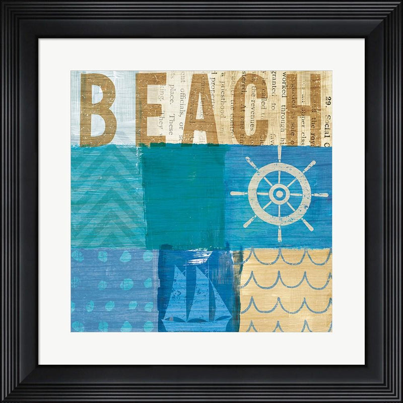 Michael Mullan Beachscape Collage IV Contemporary Stepped Solid Black with Satin Finish R899176-AEAEAGME8E
