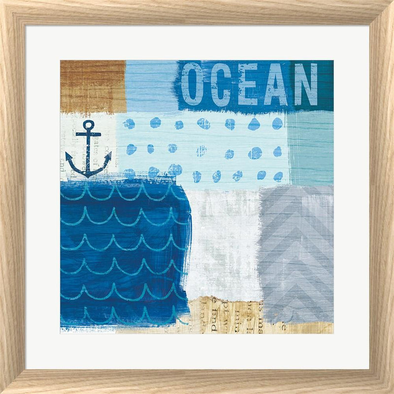 Michael Mullan Beachscape Collage II White Washed Rounded Oatmeal Faux Wood R899181-AEAEAGJEMY