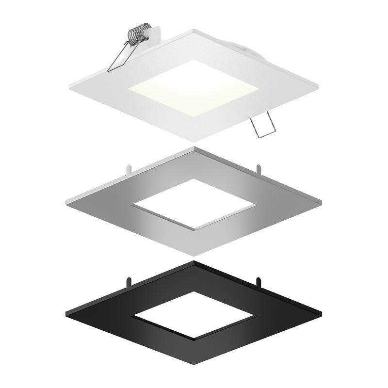 "Dals Lighting 6"" Square LED Panel Light 14W Wet Black All-In-One SPN6SQ-CC-3T"