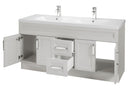 "Cutler Urban Collection 60"" Bathroom Vanity - 4 Door 2 Drawer With Double Bowl Top, Morning Dew"