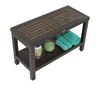 "DecoTeak Eleganto 30"" Teak Shower Bench with Viro Indoor/Outdoor Rattan Top and Shelf"