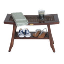 "DecoTeak Satori 24"" Eastern Style Teak Shower Bench with Viro Indoor/Outdoor Rattan Top and Shelf"