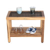 "EcoDecors EarthyTeak Eleganto 24"" Shower Stool with Viro Indoor/Outdoor Rattan Top and Shelf"