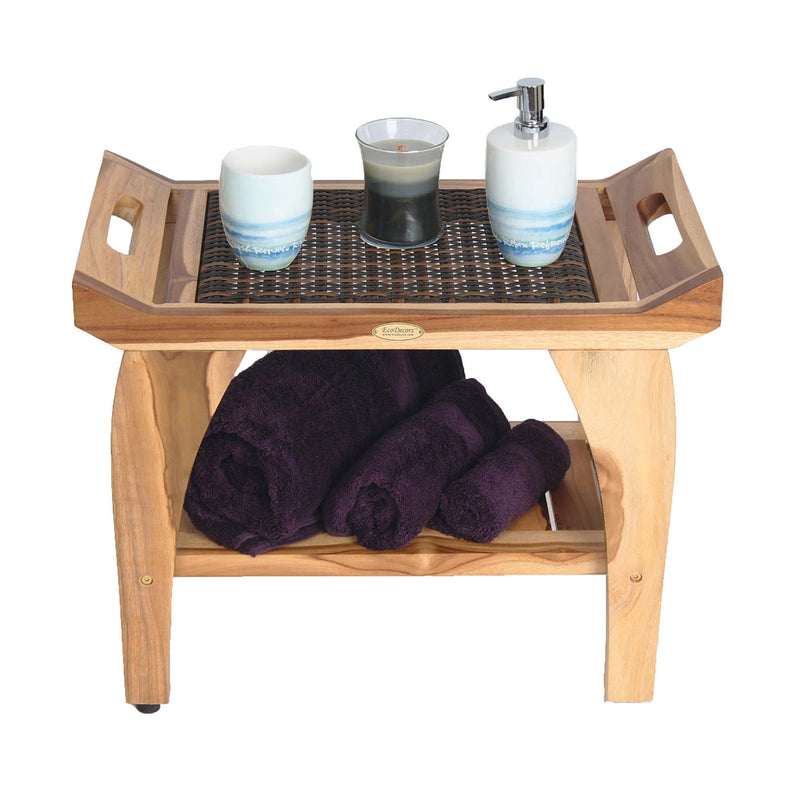 "EcoDecor EarthyTeak Tranquility 24"" Teak Eastern Style Shower Bench With Viro Indoor/Outdoor Rattan Top and Shelf"