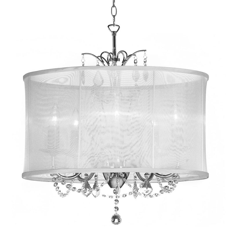 Dainolite 5 Light Crystal Chandelier White Shade VNA-20-5-119