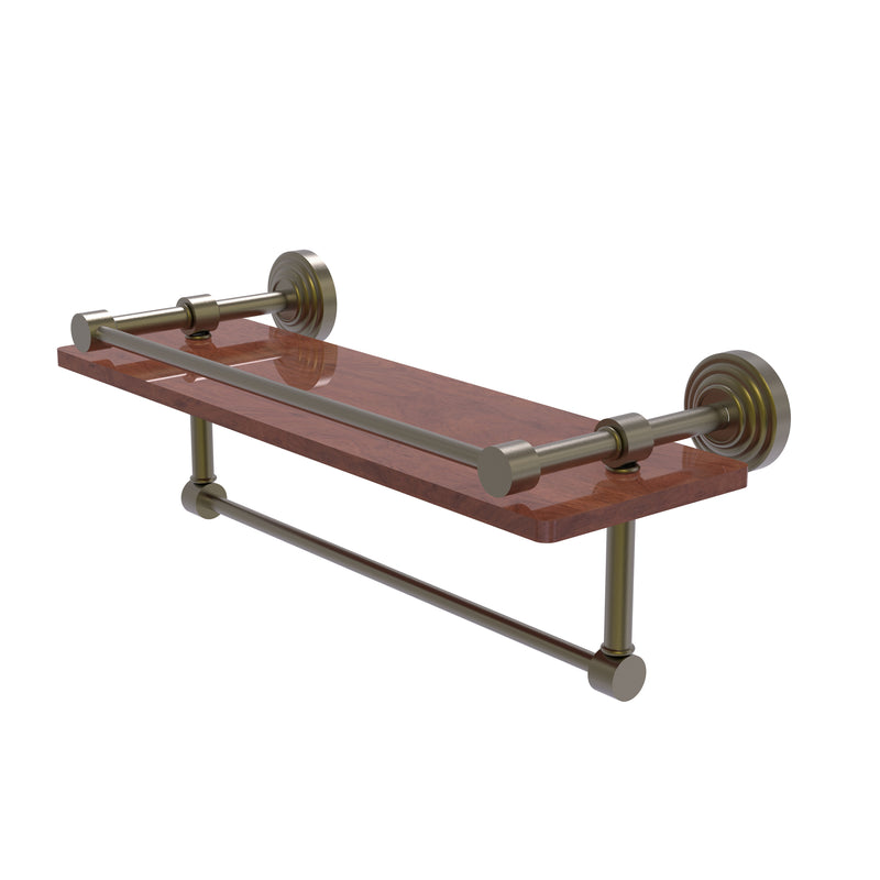 Allied Brass Waverly Place Collection 16 Inch IPE Ironwood Shelf with Gallery Rail and Towel Bar WP-1-16TB-GAL-IRW-ABR
