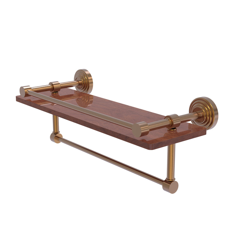 Allied Brass Waverly Place Collection 16 Inch IPE Ironwood Shelf with Gallery Rail and Towel Bar WP-1-16TB-GAL-IRW-BBR
