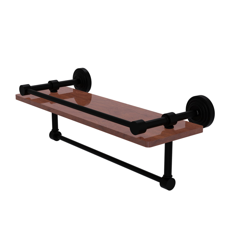 Allied Brass Waverly Place Collection 16 Inch IPE Ironwood Shelf with Gallery Rail and Towel Bar WP-1-16TB-GAL-IRW-BKM