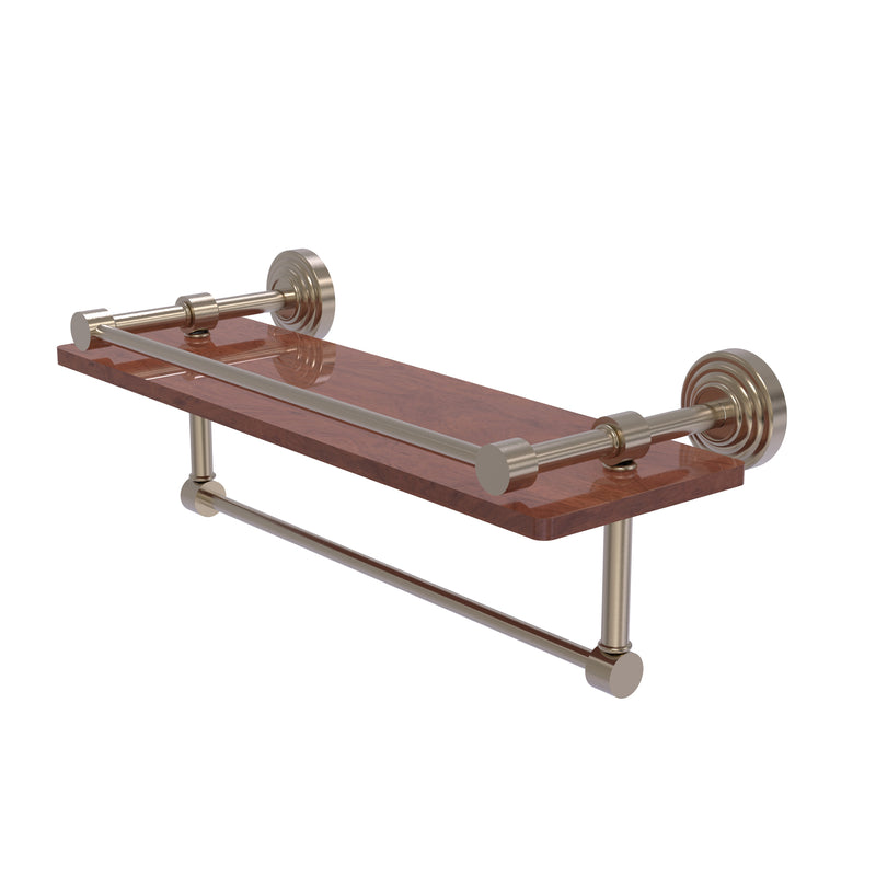 Allied Brass Waverly Place Collection 16 Inch IPE Ironwood Shelf with Gallery Rail and Towel Bar WP-1-16TB-GAL-IRW-PEW