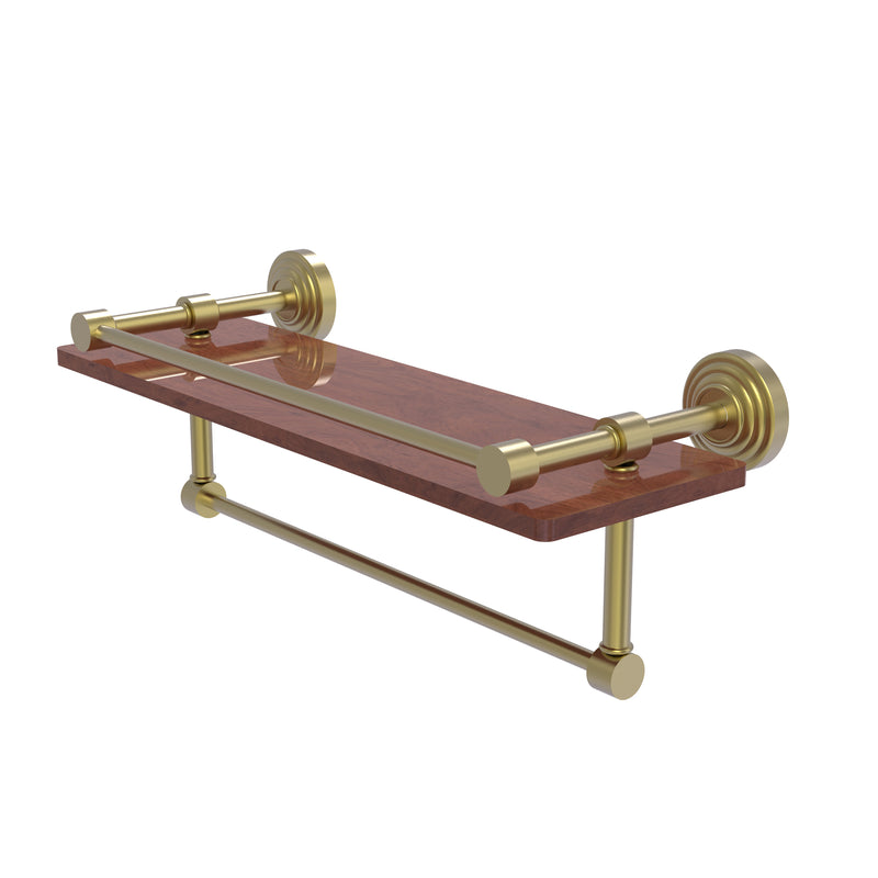 Allied Brass Waverly Place Collection 16 Inch IPE Ironwood Shelf with Gallery Rail and Towel Bar WP-1-16TB-GAL-IRW-SBR