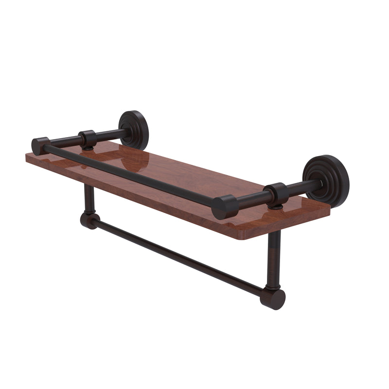 Allied Brass Waverly Place Collection 16 Inch IPE Ironwood Shelf with Gallery Rail and Towel Bar WP-1-16TB-GAL-IRW-VB
