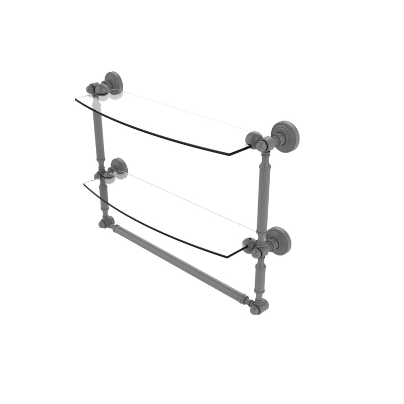 Allied Brass Waverly Place Collection 18 Inch Two Tiered Glass Shelf with Integrated Towel Bar WP-34TB-18-GYM