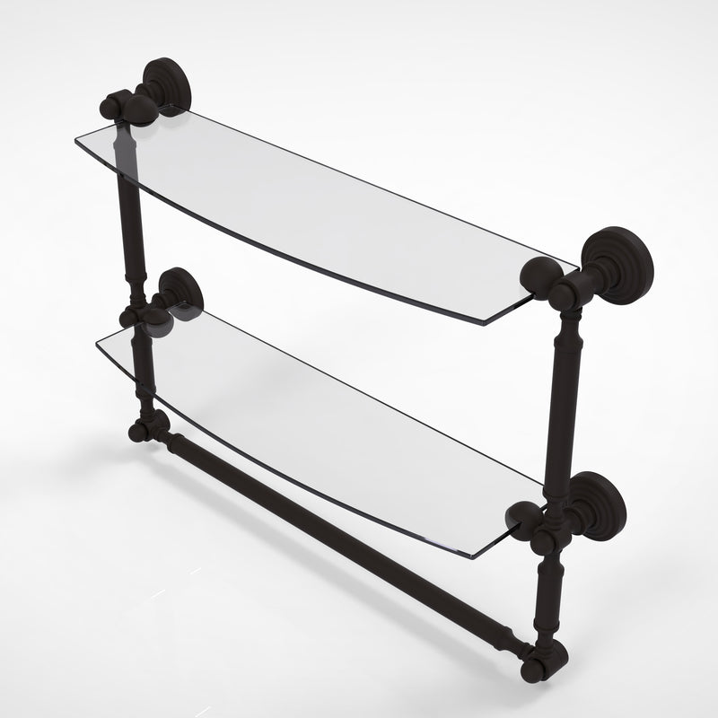 Allied Brass Waverly Place Collection 18 Inch Two Tiered Glass Shelf with Integrated Towel Bar WP-34TB-18-ORB