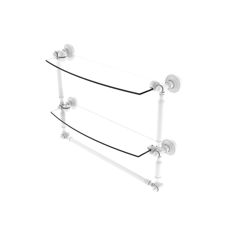 Allied Brass Waverly Place Collection 18 Inch Two Tiered Glass Shelf with Integrated Towel Bar WP-34TB-18-WHM