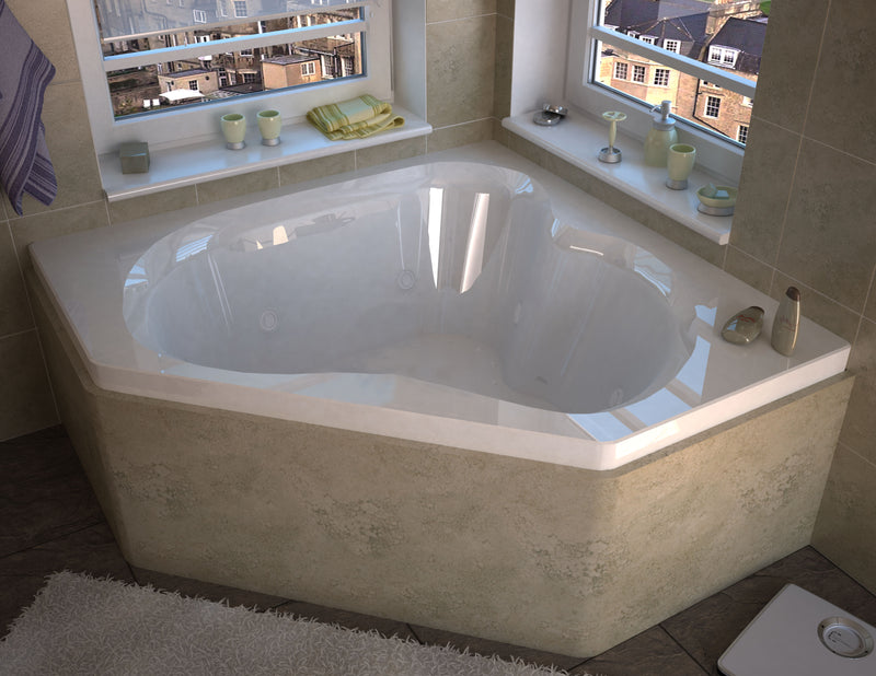 "Atlantis Whirlpools Cascade 60"" x 60"" Corner Air & Whirlpool Jetted Bathtub"
