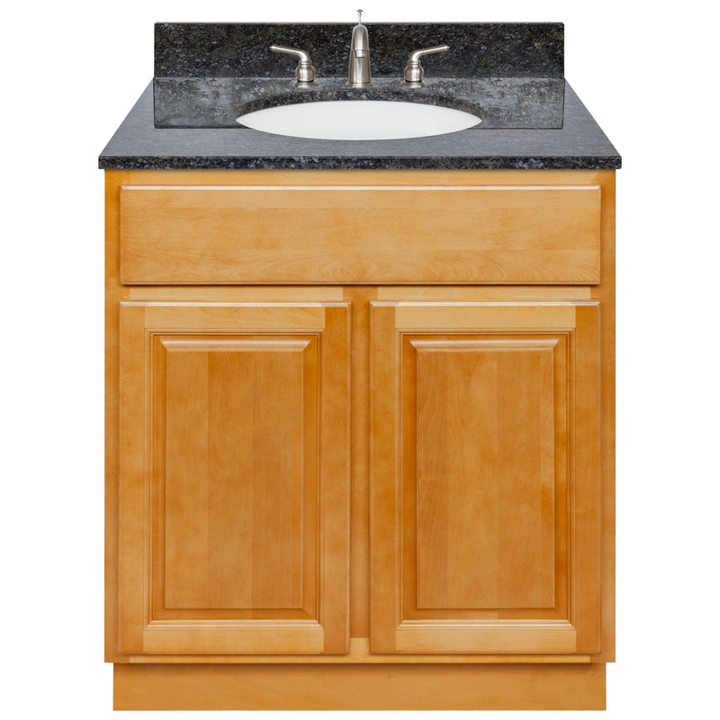 "Brown Bathroom Vanity 30"", Blue Butterfly Granite Top, Faucet LB4B BB318-30RC-4B"