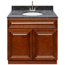 "Brown Bathroom Vanity 36"", Blue Butterfly Granite Top, Faucet LB6B BB374-36GN-6B"
