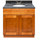 "Brown Bathroom Vanity 36"", Blue Butterfly Granite Top, Faucet LB3B BB374-36NP-3B"