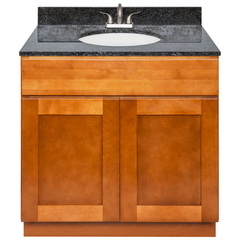 "Brown Bathroom Vanity 36"", Blue Butterfly Granite Top, Faucet LB5B BB374-36NP-5B"