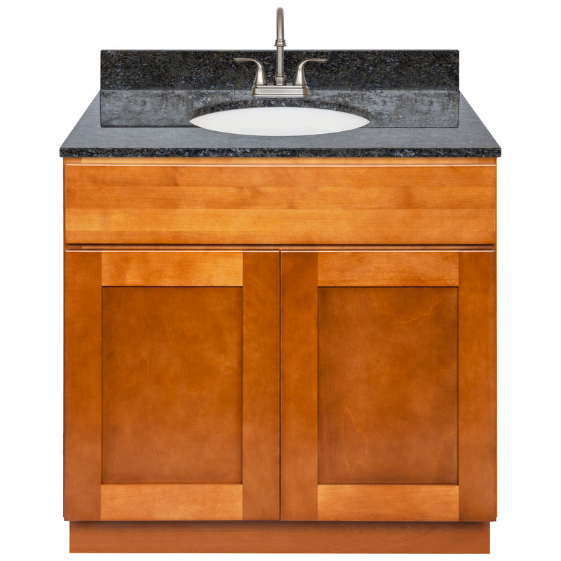 "Brown Bathroom Vanity 36"", Blue Butterfly Granite Top, Faucet LB6B BB374-36NP-6B"