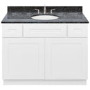 "White Bathroom Vanity 42"", Blue Butterfly Granite Top, Faucet LB4B BB438-42AW-4B"
