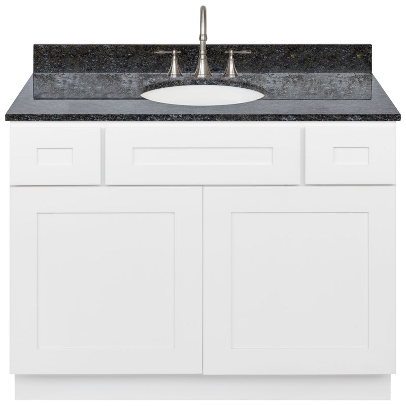"White Bathroom Vanity 42"", Blue Butterfly Granite Top, Faucet LB7B BB438-42AW-7B"