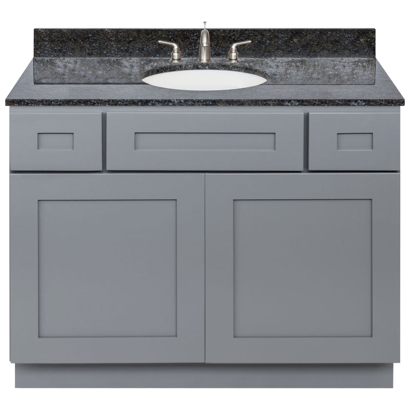 "Cherry Bathroom Vanity 42"", Blue Butterfly Granite Top, Faucet LB4B BB438-42CG-4B"