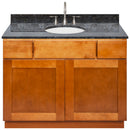 "Brown Bathroom Vanity 42"", Blue Butterfly Granite Top, Faucet LB7B BB438-42NP-7B"