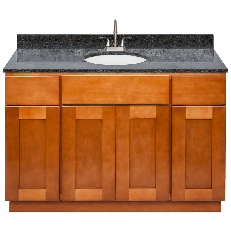 "Brown Bathroom Vanity 48"", Blue Butterfly Granite Top, Faucet LB6B BB494-48NP-6B"