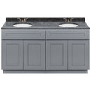 "Cherry Double Bathroom Vanity 60"", Blue Butterfly Granite Top, Faucet LB3B BB614-60CG-3B"