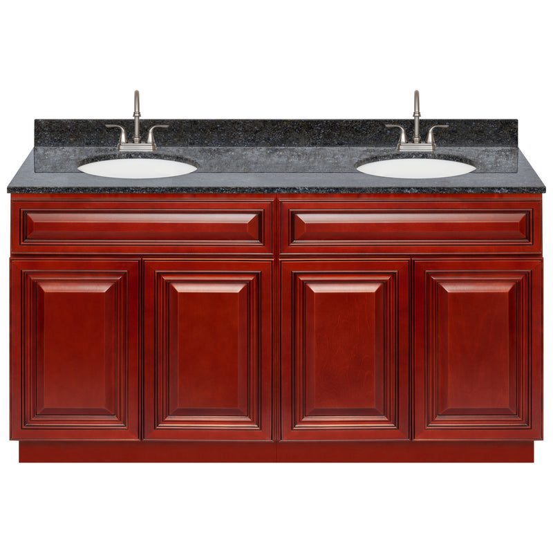 "Cherry Double Bathroom Vanity 60"", Blue Butterfly Granite Top, Faucet LB6B BB614-60CH-6B"