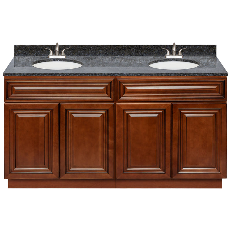 "Brown Double Bathroom Vanity 60"", Blue Butterfly Granite Top, Faucet LB5B BB614-60GN-5B"