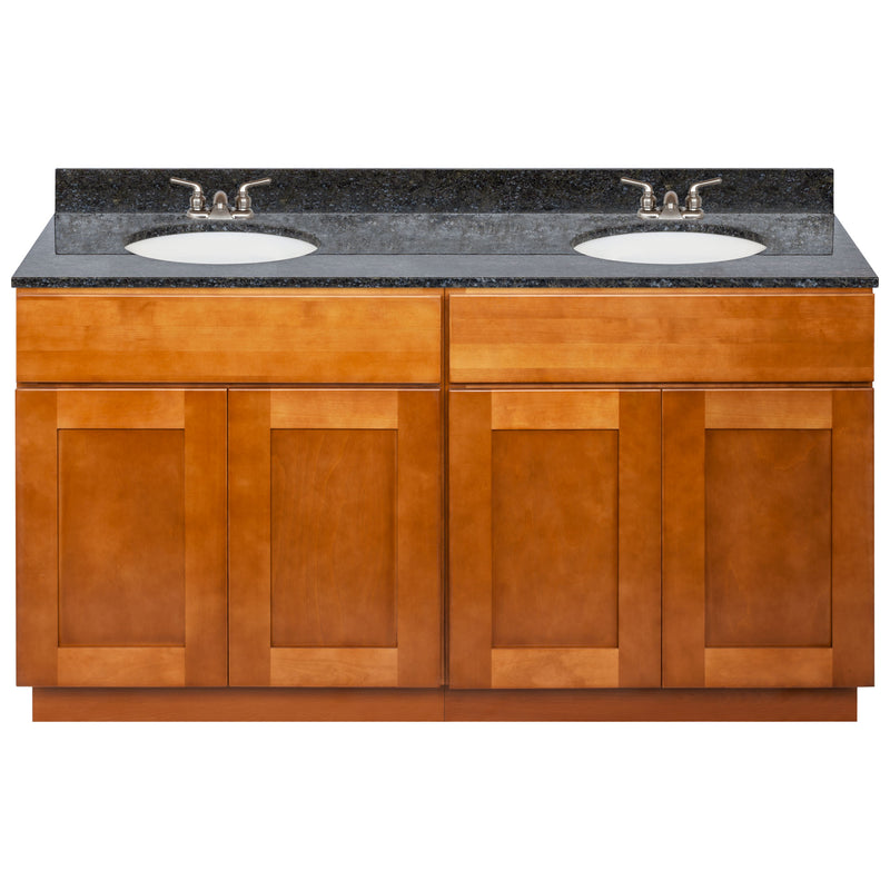 "Brown Double Bathroom Vanity 60"", Blue Butterfly Granite Top, Faucet LB3B BB614-60NP-3B"