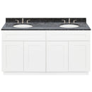 "White Double Bathroom Vanity 60"", Blue Butterfly Granite Top, Faucet LB4B BB618-60AW-4B"
