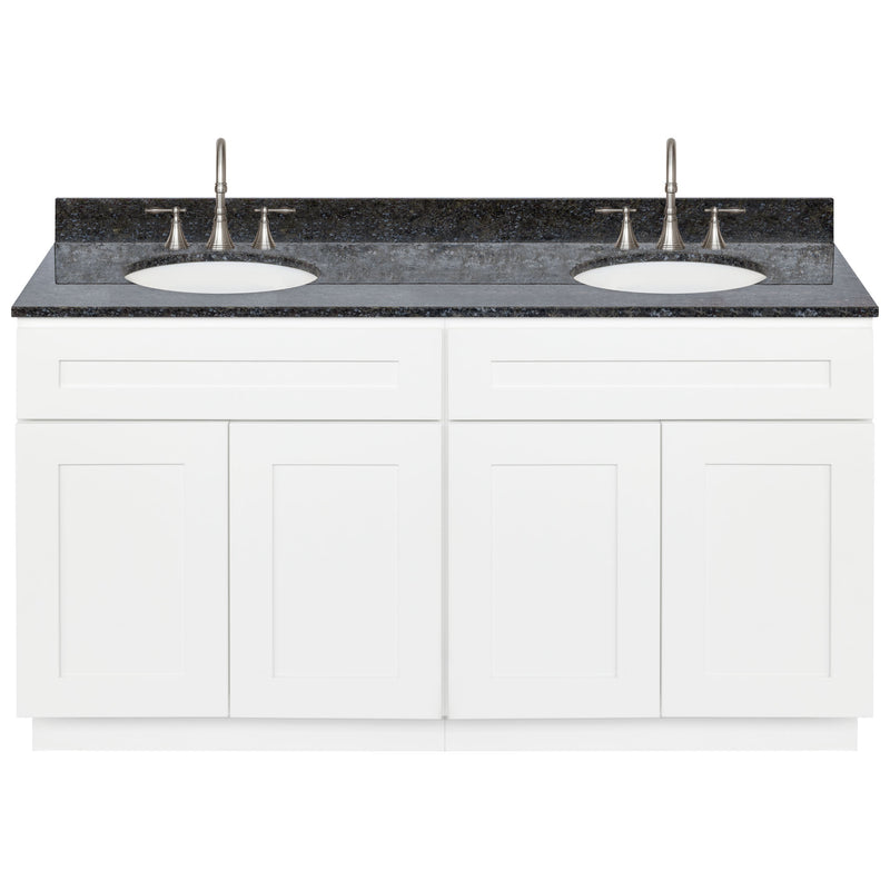 "White Double Bathroom Vanity 60"", Blue Butterfly Granite Top, Faucet LB7B BB618-60AW-7B"