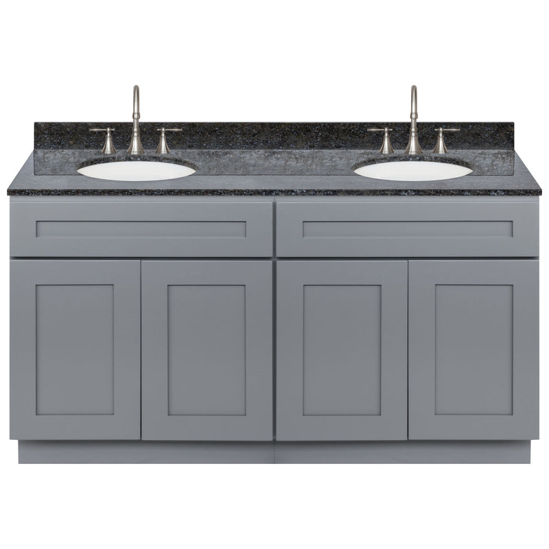 "Cherry Double Bathroom Vanity 60"", Blue Butterfly Granite Top, Faucet LB7B BB618-60CG-7B"