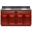 "Cherry Double Bathroom Vanity 60"", Blue Butterfly Granite Top, Faucet LB4B BB618-60CH-4B"