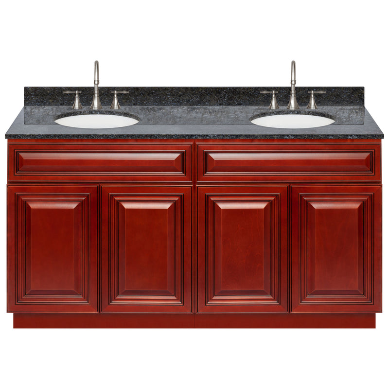 "Cherry Double Bathroom Vanity 60"", Blue Butterfly Granite Top, Faucet LB7B BB618-60CH-7B"